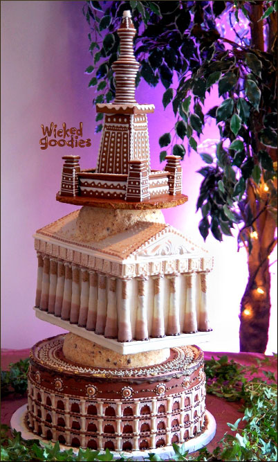 Sculpted 3D cake that looks like ancient monuments: the Colosseum, the Parthenon, and the Alexandria Lighthouse