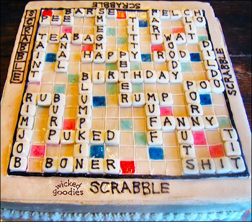 Naughty Scrabble Fornicake by Wicked Goodies