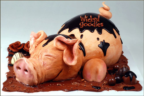 Sculpted Pig Cake by Wicked Goodies
