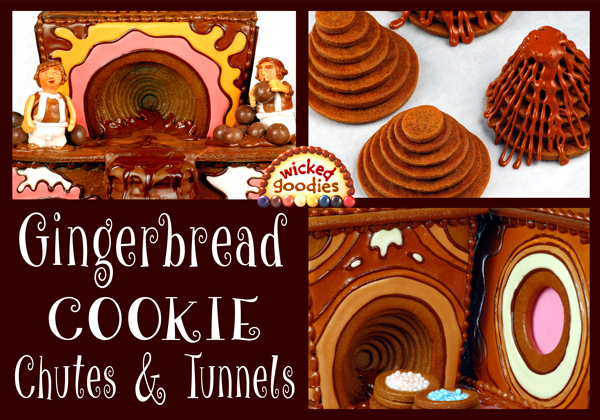 Gingerbread House Cookie Chutes and Tunnels