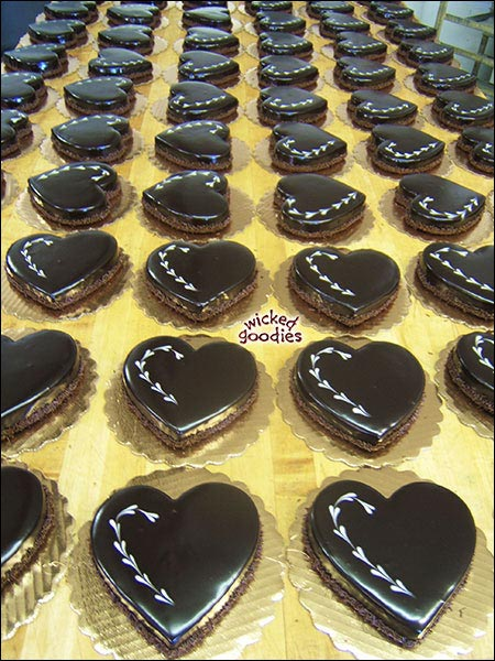 Glazed Chocolate Heart Cakes