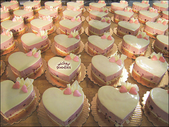 White Chocolate Rasberry Heart Mousse Cakes