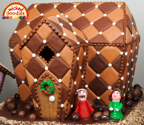 chocolate quilted harlequin gingerbread house is made from gingerbread ...