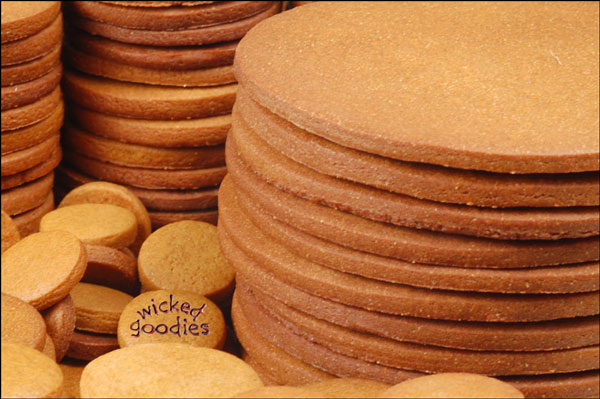 Round Stacks of Gingerbread Cookies
