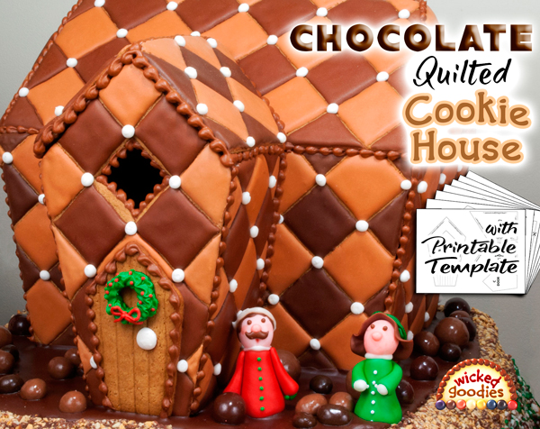 Chocolate Quilted Gingerbread House Design with Free Printable Template