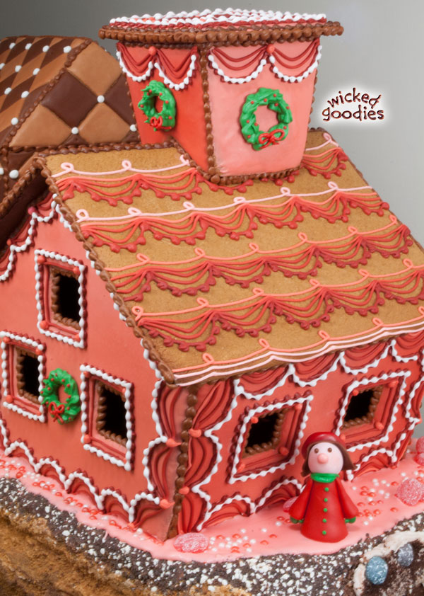 Royal Icing Piped Swag Gingerbread House Design - Wicked Goos on marzipan icing, stick pretzels with white icing, gingerbread on houses, lemon glaze icing, cake icing, biscuit icing, birthday icing, basket icing, french vanilla icing,