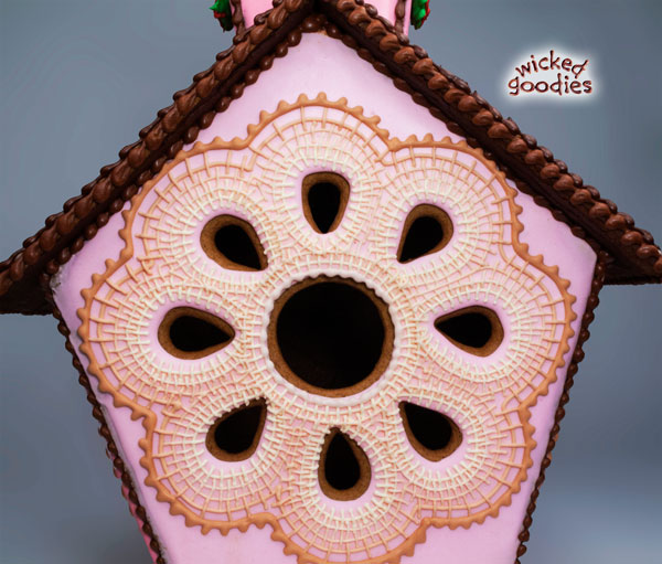 Pink Cross Stitched Gingerbread House