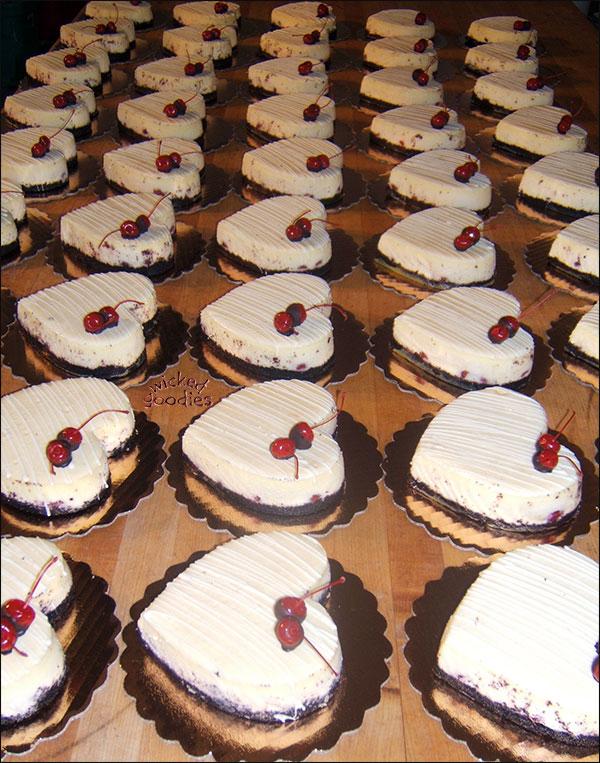 Heart Shaped Chocolate Cherry Cheesecakes