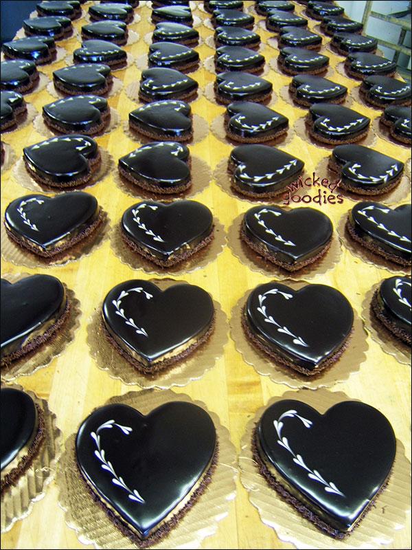 Flourless Chocolate Heart Cakes