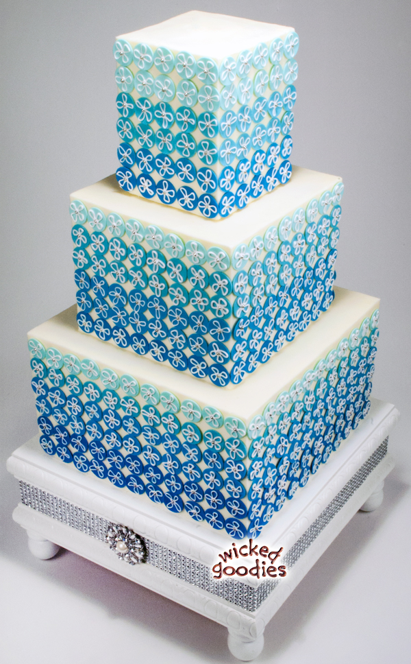 Blue Ombre Bling Wedding Cake