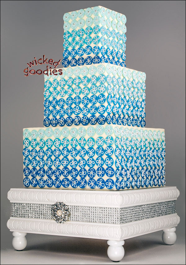 Blue Wedding Cakes With Bling