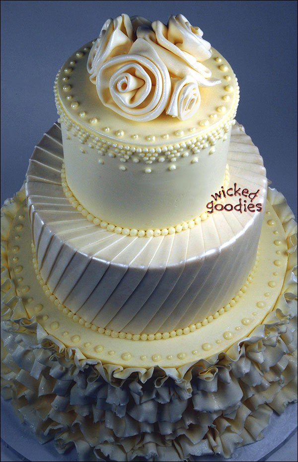 White Brides Gown Wedding Cake