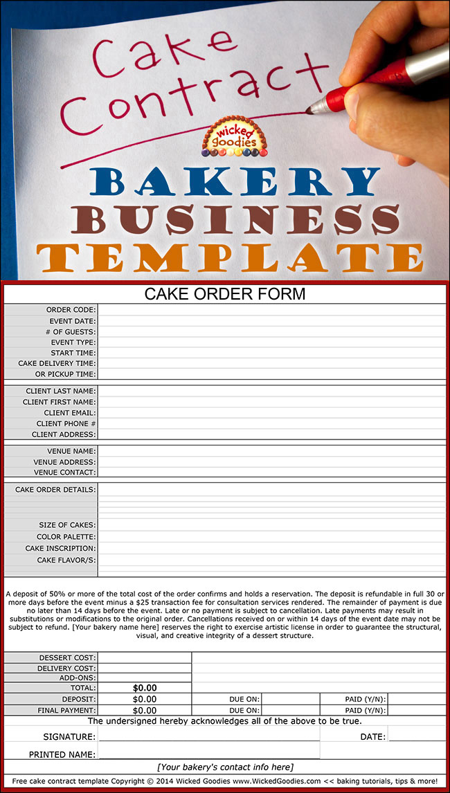 to Write a Cake Contract – Sample Cake Order Form Template