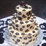Chocolate Pansy Print Wedding Cake