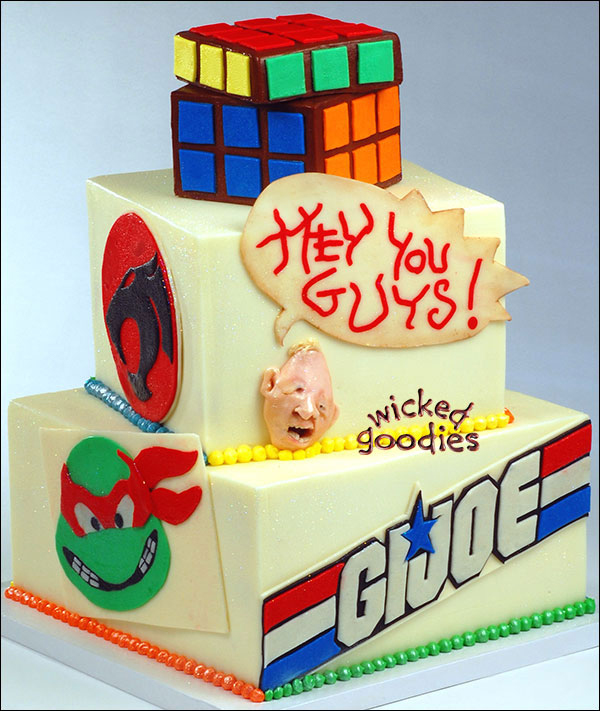 80's Themed Birthday Cake with Rubix Cube