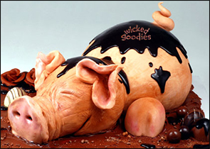 Pig Cake in Modeling Chocolate