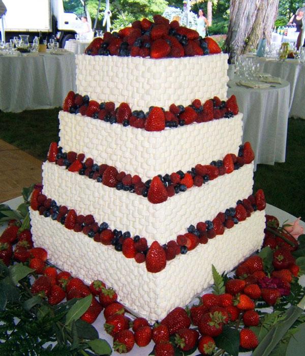 Strawberry Basket Weave Wedding Cake