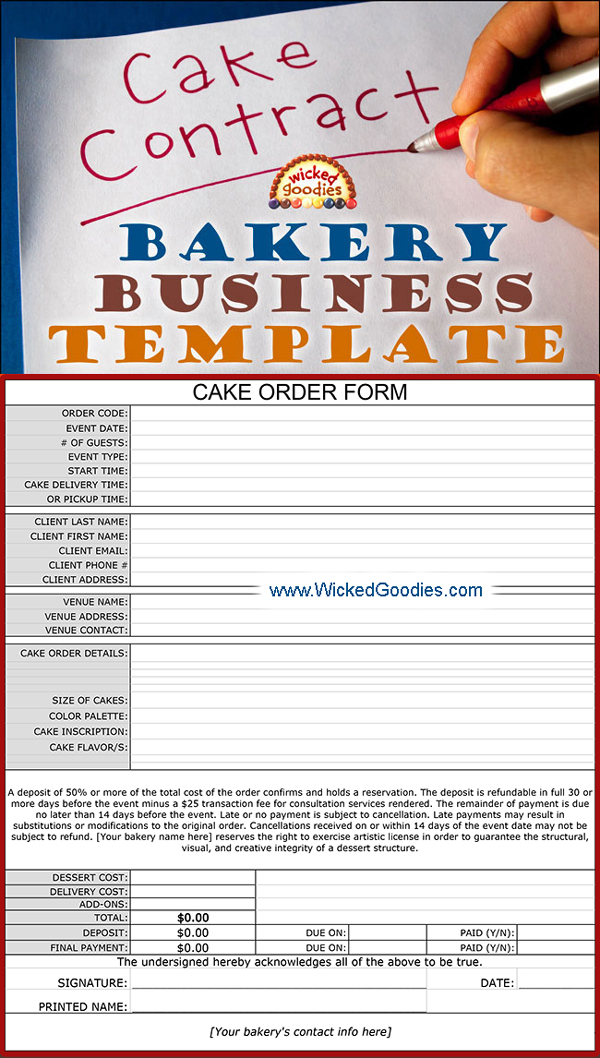 Cake Bakery Contract and Disclaimer Form